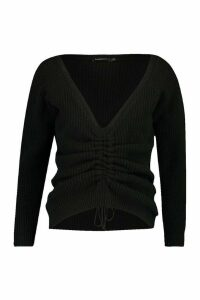 Womens Petite Knitted Ruched Front Jumper - black - M, Black