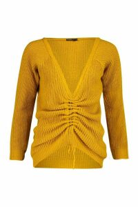 Womens Petite Knitted Ruched Front Jumper - yellow - M, Yellow