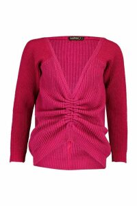 Womens Petite Knitted Ruched Front Jumper - Pink - S, Pink