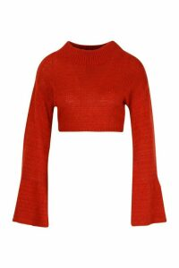 Womens Petite Super Soft Flare Sleeve Knitted Jumper - orange - M, Orange