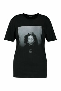 Womens Plus Bob Marley Licenced T-Shirt - black - 24, Black