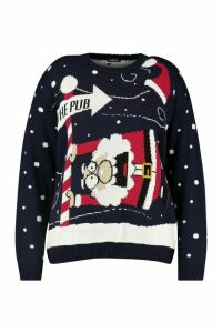 Womens Plus 'To The Pub' Christmas Jumper - black - 24-26, Black