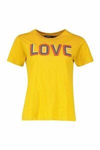 Womens High Build Slogan T-Shirt - yellow - 10, Yellow