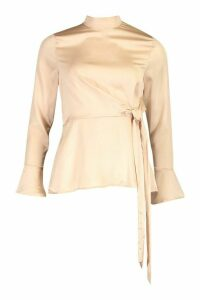 Womens Satin High Neck Wrap Frill Sleeve Blouse - beige - 12, Beige