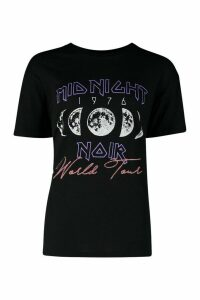 Womens Midnight Slogan T-Shirt - black - M, Black