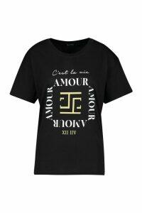 Womens Amour Slogan T-Shirt - Black - M, Black