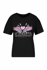 Womens Romantic Heart Slogan T-Shirt - black - M, Black