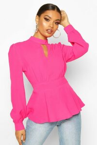 Womens Keyhole Detail Woven Blouse - pink - 12, Pink