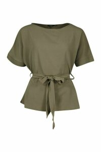 Womens Belted Woven Blouse - green - 8, Green
