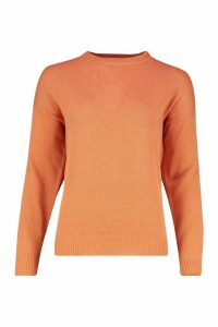 Womens Boxy Crew Neck Jumper - orange - S, Orange