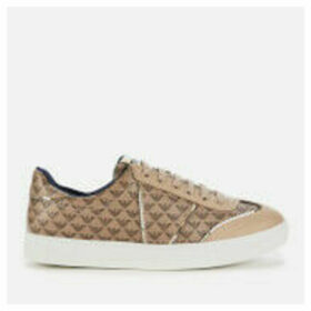 Emporio Armani Women's Biz Allover Logo Low Top Trainers - Taupe/Gold - EU 41/UK 8 - Beige