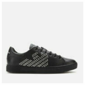 Emporio Armani Women's Marie Leather/Studs Cupsole Trainers - Black/Silver - EU 39/UK 6 - Black