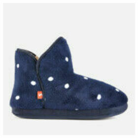 Joules Women's Cabin Fleece Lined Slippersocks - Navy Multi Spot - L