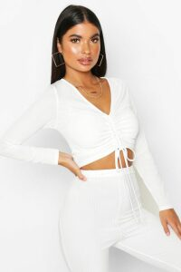Womens Petite Long Sleeve Ribbed Ruched Detail Top - white - 14, White