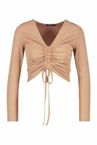 Womens Petite Long Sleeve Ribbed Ruched Detail Top - Beige - 12, Beige