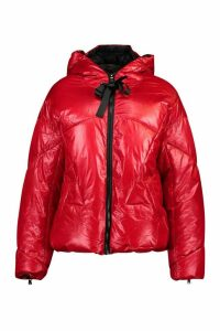 Womens Oversized High Shine Puffer Jacket - red - M, Red