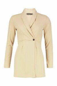 Womens Tailored Blazer Playsuit - beige - 14, Beige