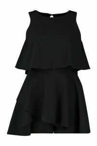 Womens Double Layer Playsuit Dress - black - 10, Black