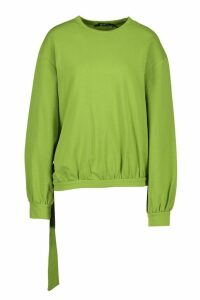 Womens Tie Hem Crew Neck Crop Sweatshirt - green - M, Green