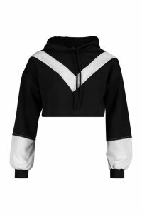 Womens Colour Block V Front Crop Hoodie - black - M, Black