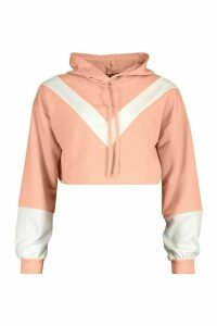 Womens Colour Block V Front Crop Hoodie - pink - L, Pink