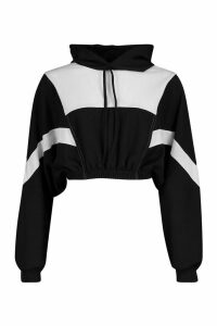 Womens Colour Block Detail Crop Hoodie - black - S, Black