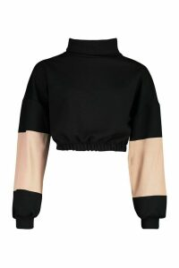 Womens Funnel Neck Colour Block Sweatshirt - black - S, Black