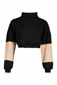 Womens Funnel Neck Colour Block Sweatshirt - black - L, Black