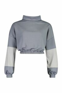 Womens Funnel Neck Colour Block Sweatshirt - slate blue - M, Slate Blue