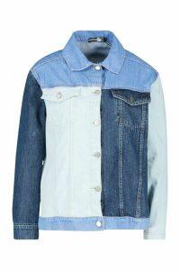 Womens Colour Block Denim Jacket - blue - 10, Blue