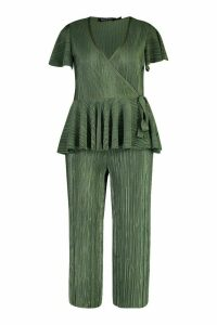 Womens Plus Plisse Wrap Peplum Top + Culotte Co-Ord - green - 26, Green