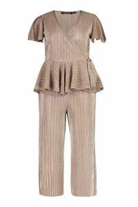 Womens Plus Plisse Wrap Peplum Top + Culotte Co-Ord - beige - 26, Beige