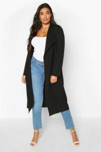 Womens Plus Pocket Thick Duster Coat - black - 16, Black