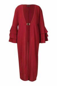 Womens Plus Ruffle Sleeve Maxi Chiffon Kimono - Red - 18, Red