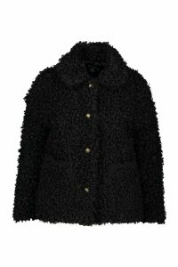 Womens Plus Teddy Faux Fur Pea Coat - black - 22, Black