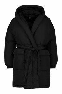 Womens Plus Shawl Collar Belted Mid Length Puffer Coat - black - 16, Black