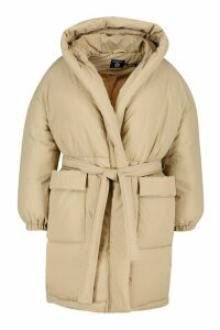 Womens Plus Shawl Collar Belted Mid Length Puffer Coat - White - 18, White