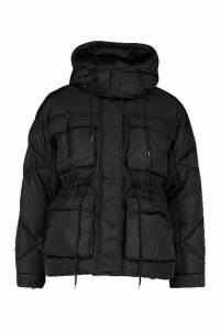 Womens Petite Double Pocket Drawstring Padded jacket - black - 14, Black