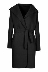 Womens Hooded Belted Shawl Coat - black - 8, Black