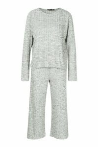 Womens Oversized Long Sleeve Top Cullotes Co-ord - grey - 14, Grey