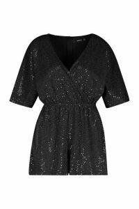 Womens Sparkle Wrap Front Playsuit - black - 14, Black