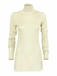 Brunello Cucinelli Metallic Knit Mock Neck Sweater In Neutral