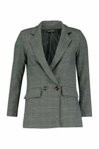 Womens Double Breasted Check Blazer - grey - 8, Grey