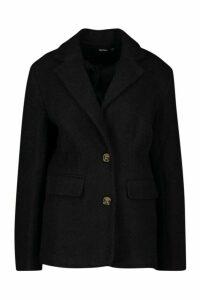 Womens Oversized Wool Look Blazer - black - 8, Black
