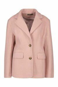 Womens Oversized Wool Look Blazer - Pink - 14, Pink