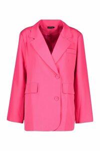 Womens Oversized Boyfriend Blazer - Pink - 12, Pink