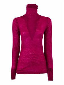 SEMICOUTURE Fuchsia Wool-blend Sheer Jumper