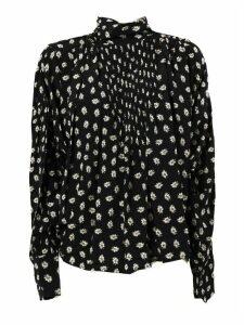 Isabel Marant Black Silk Floral-print Blouse