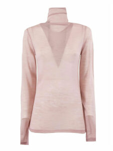 SEMICOUTURE Pink Wool-blend Sheer Jumper