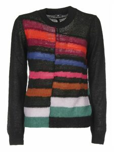 Black Pullover With Multicolor Inlays